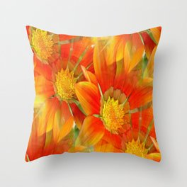 Seamless Vibrant Yellow Gazania Flower Throw Pillow