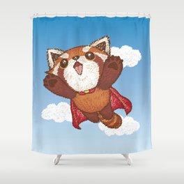 Red panda superhero Shower Curtain