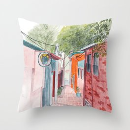 Korean Street Watercolor Illustration Throw Pillow