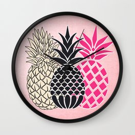 Pineapple in Pink , tropical , hawaii , summer , fruit , pineapple print , pineapple design Wall Clock