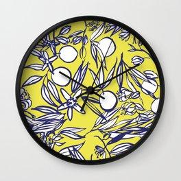 Orange Blossoms on Citron Wall Clock