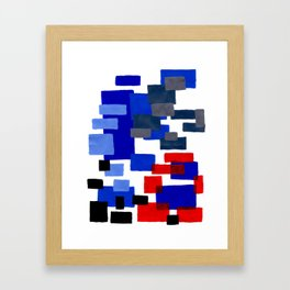 Modern Mid Century Abstract Geometric Cube Square Acrylic Painting Blue With Red Accents Framed Art Print