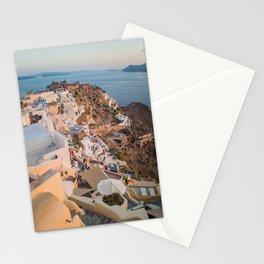 Grecian Sunset in Santorini, Greece Stationery Cards
