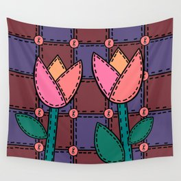 Retro Doodle Tulip Quilt - Burgundy Purple Pink Wall Tapestry
