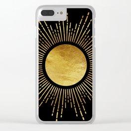Golden Sunburst Starburst Noir Clear iPhone Case