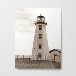 North Cape Lighthouse Sepia Metal Print