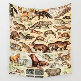 Cute Animals // Fourrures by Adolphe Millot XL 19th Century Science Textbook Diagram Artwork Wall Tapestry
