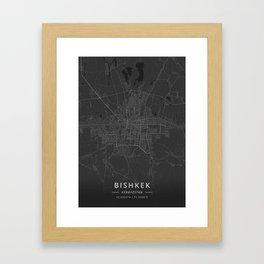 Bishkek, Kyrgyzstan - Dark Map Framed Art Print