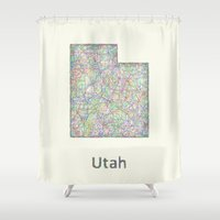 utah Shower Curtains featuring Utah map by David Zydd