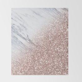 Blush Pink Sparkles on White and Gray Marble V Throw Blanket