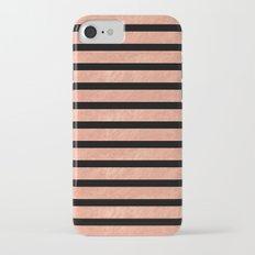 Rose Gold Stripes on Black Background Pattern Slim Case iPhone 7