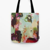 "flora bowley Tote Bags featuring ""Deep Embrace"" Original Painting by Flora Bowley by Flora Bowley"