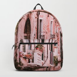 Venice pink canal with old buildings travel photography Backpack