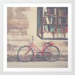 A vintage red bicycle and the bookstore photograph Art Print