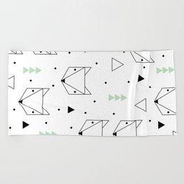Scandinavian woodland fox forest mint black and Beach Towel