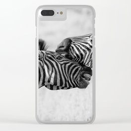 Zebra Love Black & White Clear iPhone Case