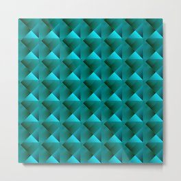 Optical pigtail rhombuses from light blue squares in the dark. Metal Print