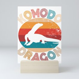 Vintage Komodo Dragon Lover Retro Lizard Silhouette Gift Mini Art Print