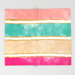 Modern Stripes Pink Red Watercolor Gold Glitter Throw Blanket