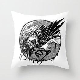 Noisy raven Throw Pillow