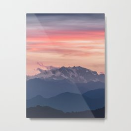 Pink And Blue Pastel Mountains Sky Landscape Sunrise Landscape Metal Print