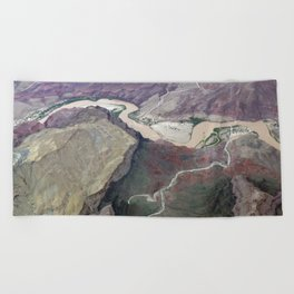 Grand Canyon bird's eye view #1 Beach Towel