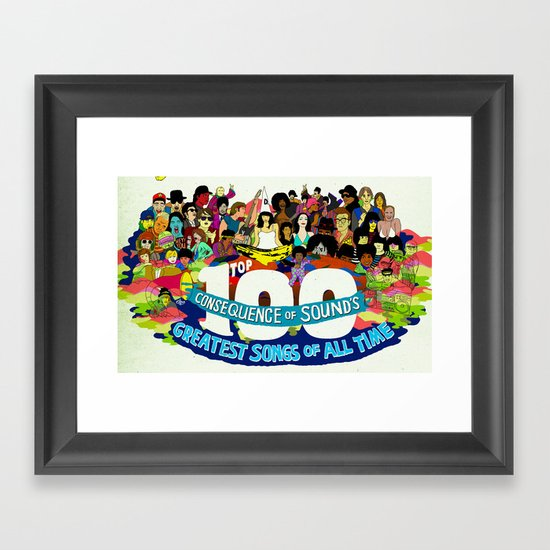 """Top 100 Greatest Songs of All Time"" by Steven Fiche Framed Art Print"