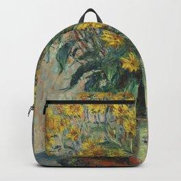 Jerusalem Artichoke Flowers (1880) by Claude Monet Backpack