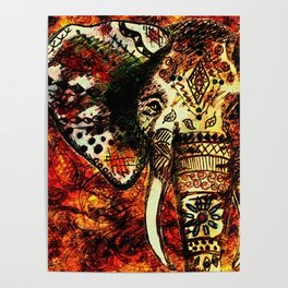 Patterned Sketched Elephant Poster