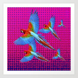 FLIGHT OF BLUE MACAWS IN FUCHSIA OPTICS Art Print