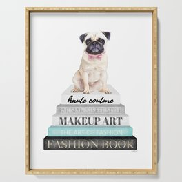 Pug, Books, Fashion books, Gray, Teal, Fashion, Fashion art, fashion poster, fashion wall art, Serving Tray