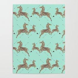 Royal Tenenbaums Zebra Wallpaper - Seafoam green Poster