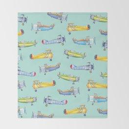 Vintage Airplanes Throw Blanket