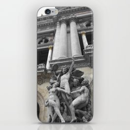 Paris Opera black and white with color GOLD iPhone Skin