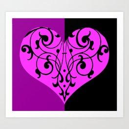 Gothic Victorian Black and Purple Heart Art Print