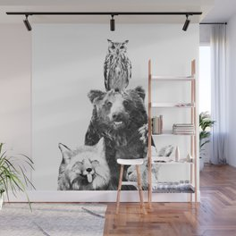 Black and White Woodland Animals Wall Mural