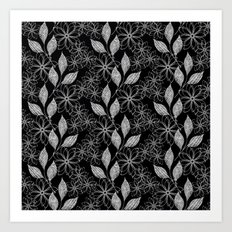 Abstract floral black and white pattern. Art Print