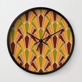 Retro 70s Art Deco corner fans geometric brown, orange, Green Wall Clock