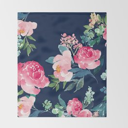 Navy and Pink Watercolor Peony Throw Blanket