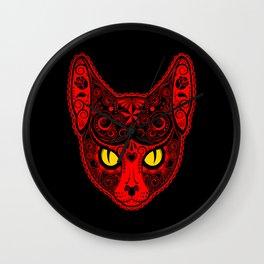 Red Day of the Dead Sugar Skull Cat Wall Clock