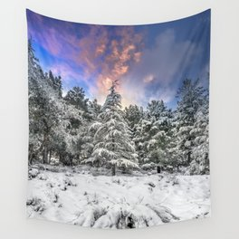 """""""Mountain Light IV"""" Snowy Forest At Sunset Wall Tapestry"""