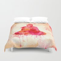 buddhism Duvet Covers featuring Red Buddha Watercolor art by Thubakabra
