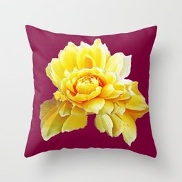 Burgundy Color Yellow Rose Flower Art Design Pattern Abstract Art Garden Throw Pillow
