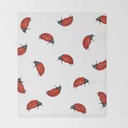 Ladybug Pattern Throw Blanket