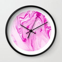 Marble suminagashi circle pink swirl inked pattern marbling art decor Wall Clock
