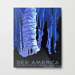 See America blue grotto vintage travel Metal Print