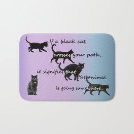 Black cat crossing Bath Mat