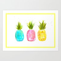 pineapples Art Prints featuring Pineapples  by Melanie Dorsey Designs