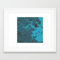 boston map Framed Art Prints featuring Boston map by Map Map Maps