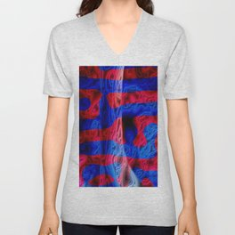 Red and Blue Unisex V-Neck
